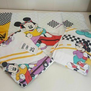 Disney Mickey Racing Sheet Set Flat Fitted Case
